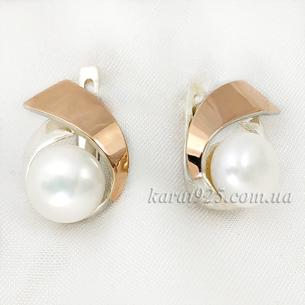 Сережки срібні з золотом та перлинами