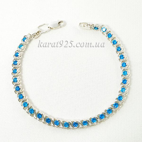 Срібний браслет з блакитними камінчиками – Карат 925 0f3df9437b39a