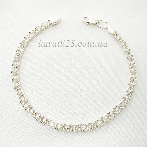 Срібний браслет з прозорими камінчиками