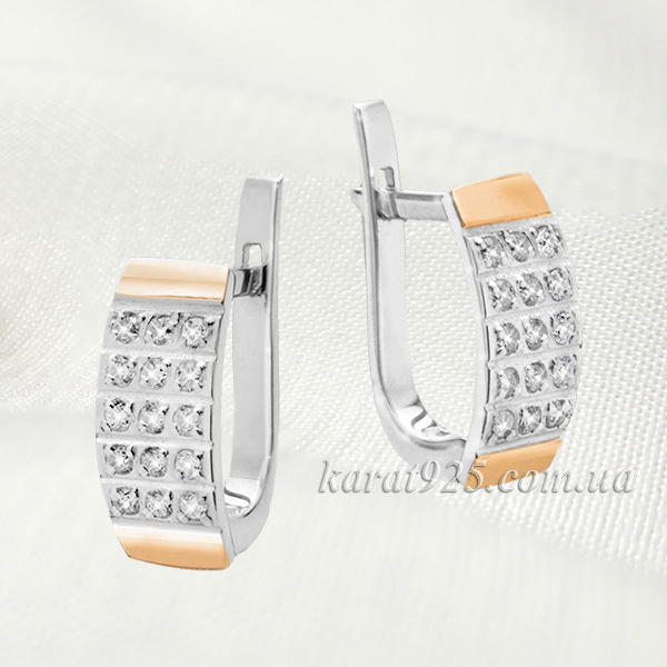 b4b63a5a0a54b8 Сережки срібні з золотими пластинами – Карат 925
