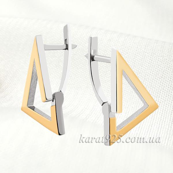 Сережки срібні з золотими вставками